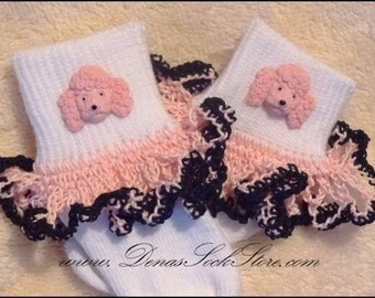 Boutique Crocheted Lace Ruffle Pageant Socks Custom Poodle Puppies