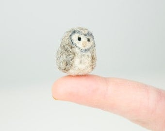 Miniature Needle Felted Pocket Barn Owl in Natural Grey