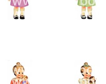Digital images of paper doll B - Instant Download