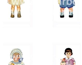 Digital images of paper doll F - Instant Download
