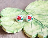Button stud earrings - cross stitch earrings - red roses - hand embroidery - textile jewelry - Summer collection by Skrynka - e004red