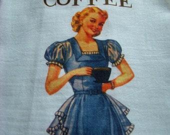 COFFEE theme tea towel - No Talkie before Coffee - Retro lady kitchen towel - super cute flour sack towel