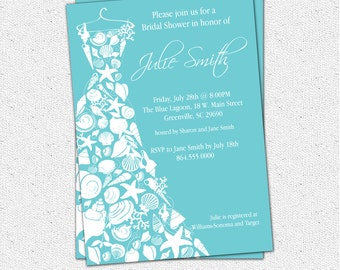 Bridal Shower Invitation Seashell Dress, Elegant Sea Shell, Beach, Custom, Printable or Printed