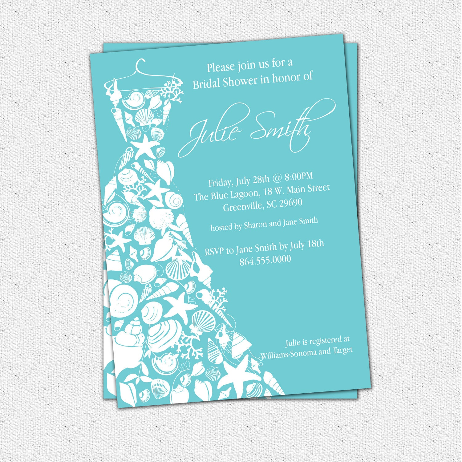 Bridal shower invitation seashell dress elegant sea shell for Wedding dress bridal shower invitations