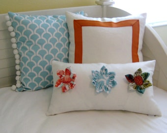 SewSusie Deigns Custom Flower Lumbar Pillow Cover - One of a Kind Decorative Pillow Cover