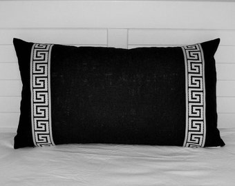Black Linen with Black and White Greek Key Tape Lumbar Designer Pillow Cover - Other Trim Colors Available
