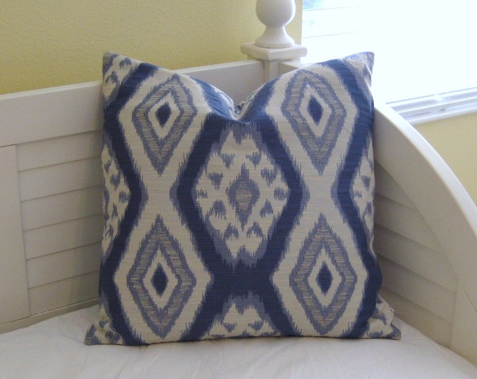Thom Filicia for Kravet Rigi in Ink Ikat Designer Pillow Cover (same fabric on both sides)  - Square, Euro and Lumbar Sizes