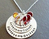 Six Name Mothers Children Grandchildren Hand Stamped Personalized Necklace