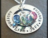 Circle of Love Four Children Grandchildren Personalized Hand Stamped Silver Necklace