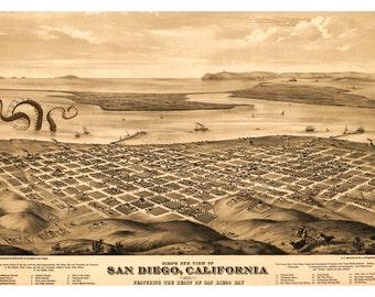 San Diego, Digital Print, San Diego Art, Octopus Tentacles, San Diego Map, Cthulhu, Giant Squid, Geekery, Alternate Histories