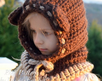 Crochet hooded cowl Pattern. Crochet wrapper digital pdf. Baby, toddler,child, adult sizes. Beriane hooded cowl (044)