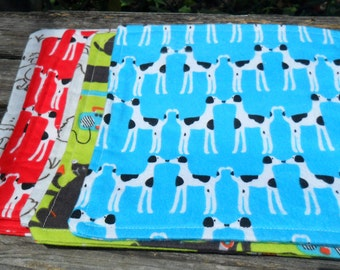 Reusable baby Wipes, Wash Cloths Set of 6, Dog Theme