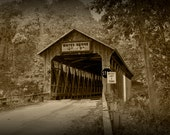 Whites Covered Historical Bridge on the Flat River near Lowell Michigan No.SP0310 A Sepia Toned Fine Art Landscape Photograph
