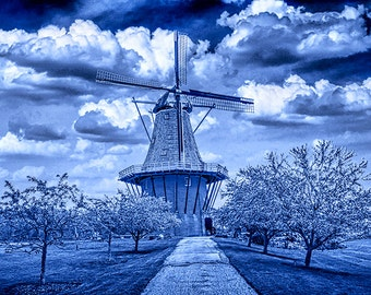 Delft Blue version of the Dutch Windmill the DeZwaan on Windmill Island in Holland Michigan No.BL112 - A Fine Art Landscape Photograph