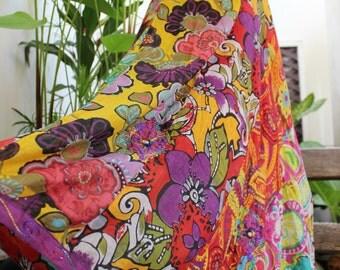 Soft Cotton Patchwork Skirt - OM1409-02