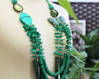 Coconut Shell Beads Necklace - CL1409-04