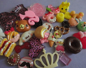 Sale--kawaii decoden phone deco diy charm mix. B more than 30 pcs---USA seller