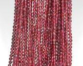 "3mm Red Garnet Round beads full strand 16"" Loose Beads P142712"