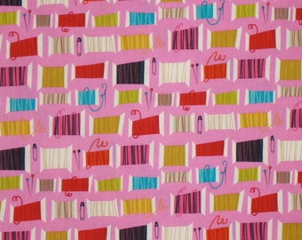 REMNANT--Hot Pink Cool Spool Print Pure Cotton Fabric--1&1/8 Yard