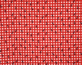 Red and White Check with Black Ants Picnic Print Fabric--One Yard