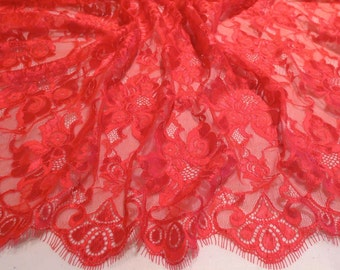 Cherry Red Floral Design Silky Leavers Chantilly Lace Fabric--One Yard