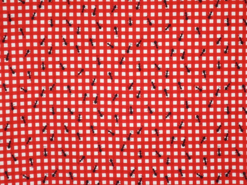 Red And White Check With Black Ants Picnic Print Fabricone