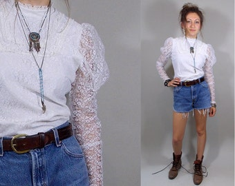 Vintage Victorian / Edwardian Style Lace Top