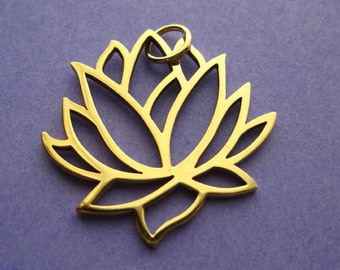 Bronze Lotus Flower Large Openwork Pendant Charm