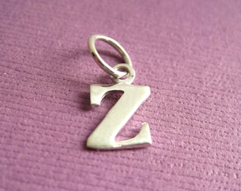 Sterling Silver Alphabet Letter z Initial Charm in Typewriter Style