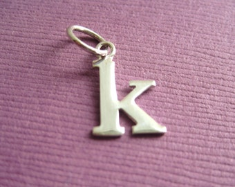 Sterling Silver Alphabet Letter k Initial Charm in Typewriter Style