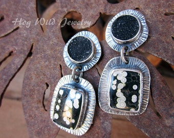 Metal Smith Black and Ivory Dalmation Jasper Druzy Post Earrings