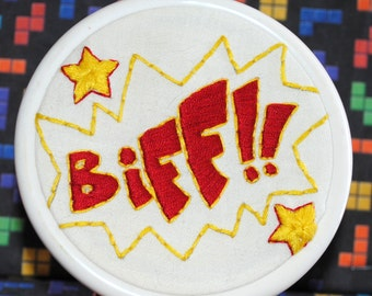 Biff!  -  Button For Your House - Comic Book Inspired