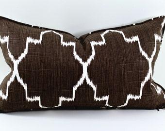 "Free shipping, 12x20"" Ikat Pillow, Throw Pillow, Trendy Pillows, Cushion, Monaco Coffee Pillow, Accent Pillow"