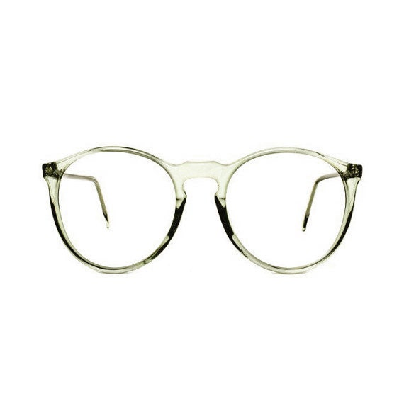 Light Green Round Vintage Eyeglasses : transparent 80s