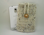 Phone Cozy Pouch - Aran Fleck with Natural Wood Button Closure - Sand Cream Brown Paloma Grey Gray