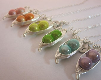 Sweet Peas in a Pod Pendant with Chain