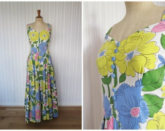 vintage 1930s maxi dress / 30s bright floral maxi dress
