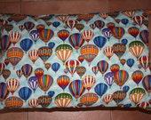 Hot air balloon pillowcase, standard size, green