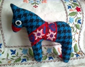 Blue horse, chinese symbol of the year , soft art  toy creature by  Wassupbrothers, nursery decor