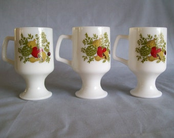 Federal Glass Spice o' Life Pedestal Mugs Set of 3 Opal Glass Milk Glass Mushroom Artichoke Corning