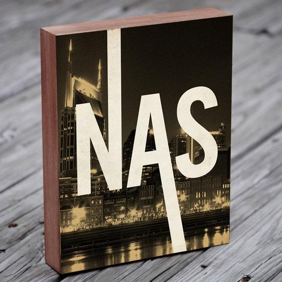 Nashville Skyline - Nashville Print - Tennessee Art - Wood Block Art Print