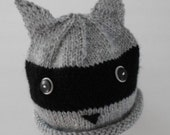 Handknit Grey and Black Baby Raccoon Hat Fits up to T3