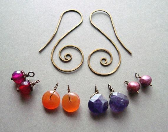 SALE Interchangeable Earrings, Mix and Match Gemstone Earrings, Rainbow Dangle, Boho Dangle Earrings - Moroccan Sunset:  15% Off