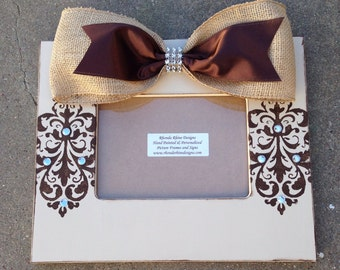5x7 Frame with Brown Damask Jeweled Designs and Burlap Bow