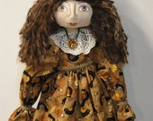 OOAK Primitive Art Doll with Sunflowers Crows Fall Collectible Art Doll by MorningMistDesigns