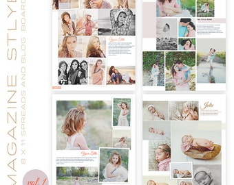 Magazine Style 8,5 x 11 magazine Spreads and Blog Boards Set of four   INSTANT DOWNLOAD