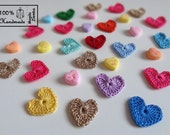 10  Little Tiny Gold Rainbow Crochet HEARTS Colors Appliques great for Decorations, Ornaments, Embellishments, Scrap Booking - Easter