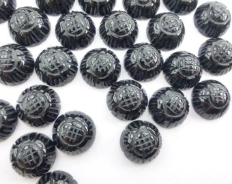 BLaCK ONYX Carved Floral Motif. Carved. Earring, Ring & Cufflink Stones. Round. Can Be Drilled 6 pc. 10 mm (OX336-6)