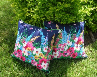 Pair of Designer  Accent Pillow Covers, Vintage Cotton Fabric, 20 x 20 inches, Bed of Flowers on Navy