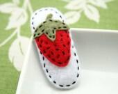 Ruby - Felt snap clip hair clip with a strawberry